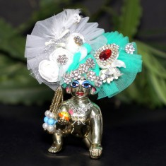 Designer White Sea Green Stone Flower Patch Work Laddu Gopal Pugree