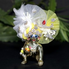 Designer White Yellow Stone Flower Patch Work Laddu Gopal Pugree