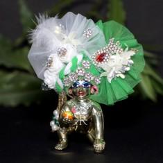 Designer White Parrot Green Stone Flower Patch Work Laddu Gopal Pugree