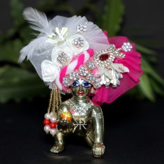 Designer White Rani Stone Flower Patch Work Laddu Gopal Pugree