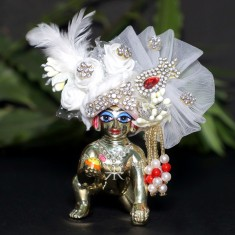Designer White Stone Patch Work Laddu Gopal Pugree