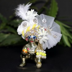 Designer White Yellow Stone Patch Work Laddu Gopal Pugree