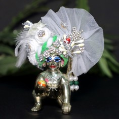 Designer White Parrot Green Stone Patch Work Laddu Gopal Pugree