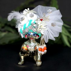 Designer White Sea Green Stone Patch Work Laddu Gopal Pugree