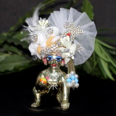 Designer White Golden Stone Patch Work Laddu Gopal Pugree