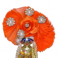 Designer Orange Floral Stone Patch Work Laddu Gopal Pugree