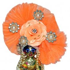 Designer Peach Floral Stone Patch Work Laddu Gopal Pugree