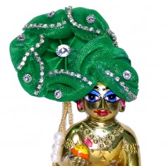 Green Stone Work Laddu Gopal Pugree