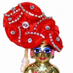 Red Stone Work Laddu Gopal Pugree