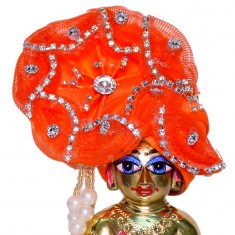 Orange Stone Work Laddu Gopal Pugree