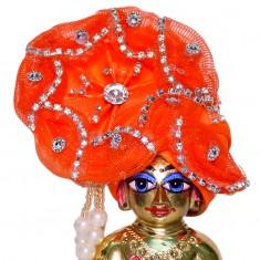 Orange Stone Work Laddu Gopal Pugree