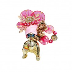 Beautiful Pink Rani Stone Patch Work Laddu Gopal Pugree