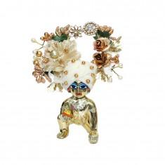 Designer White Golden Pearl Patch Work Laddu Gopal Pugree