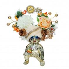 Designer Peach White Stone Flower Patch Work Laddu Gopal Pugree