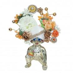 Designer White Peach Stone Flower Patch Work Laddu Gopal Pugree