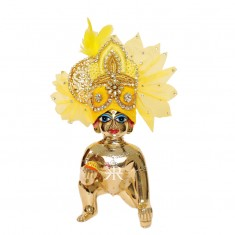 Designer Yellow Zardozi Hand Work Laddu Gopal Pugree