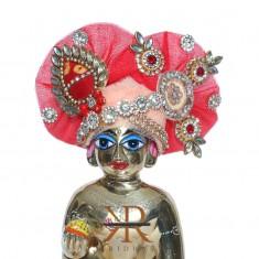 Designer Peach Red Kundan Stone Patch Work Laddu Gopal Pugree