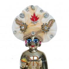 Designer Peach Kundan Zardozi Patch Work Laddu Gopal Pugree
