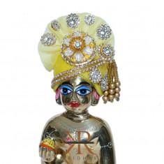 Designer Yellow Stone Patch Work Laddu Gopal Pugree