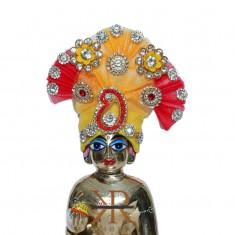 Designer Yellow Red Stone Patch Work Laddu Gopal Pugree