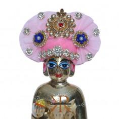 Designer Baby Pink Kundan Stone Patch Work Laddu Gopal Pugree