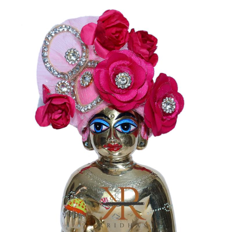 Designer Pink Flower Stone Patch Work Laddu Gopal Pugree