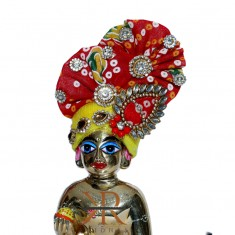 Designer Yellow Red Bandhni Kundan Stone Patch Work Laddu Gopal Pugree