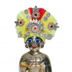 Designer Yellow Red Kundan Stone Patch Work Laddu Gopal Pugree