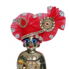 Elegant Red Kundan Stone Patch Work Laddu Gopal Pugree