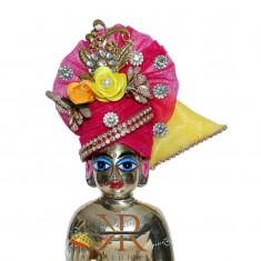 Elegant Rani Kundan Flower Patch Work Laddu Gopal Pugree