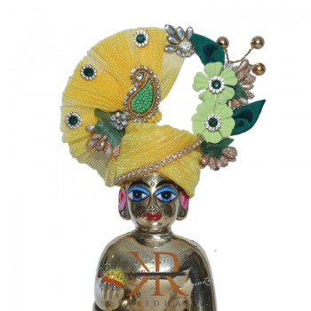 Elegant Yellow Flower Stone Patch Work Laddu Gopal Pugree