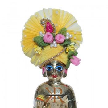 Elegant Yellow Flower Pearl  Stone Patch Work Laddu Gopal Pugree