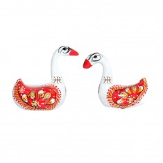 A Pair of White Red Meena Work Duck