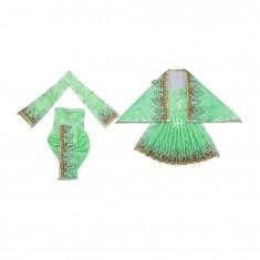 Parrot Green Zari Thread Lace Work Radha Krishna Dress