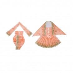 Peach Zari Thread Lace Work Radha Krishna Dress