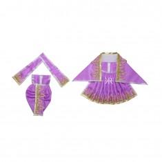 Purple Zari Thread Lace Work Radha Krishna Dress