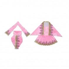 Pink Zari Thread Lace Work Radha Krishna Dress