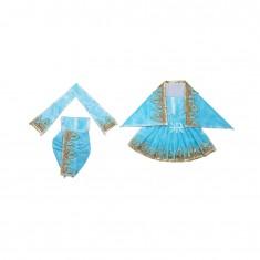 Firozi Zari Thread Lace Work Radha Krishna Dress