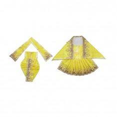 Lemon Zari Thread Lace Work Radha Krishna Dress