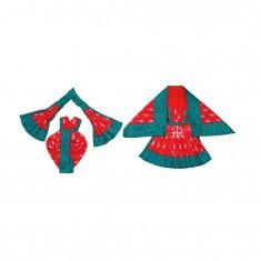 Beautiful Red Green Cotton Lace Work Radha Krishna Dress