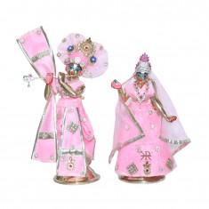 Designer Pink Stone Patch Work Radha Krishna Dress