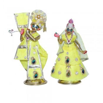 Designer Yellow Stone Patch Work Radha Krishna Dress