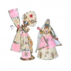 Designer Peach Pink Kundan Stone Patch Work Radha Krishna Dress