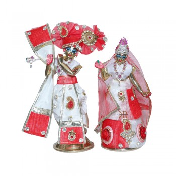 Designer White Red Stone Patch Work Radha Krishna Dress