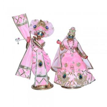 Designer Pink Stone Patch Gotta Lace Work Radha Krishna Dress