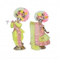 Designer Yellow Pink Sequins Work Radha Krishna Boutique Dress