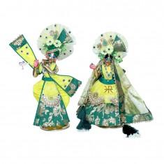 Designer Lemon Green Banarasi Silk Kundan Stone Patch Work Radha Krishna Dress