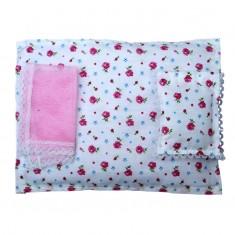Laddu Gopal  Pink Floral Cotton Bed Set