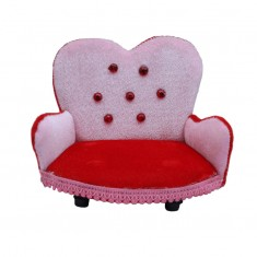 Beautiful Pink Red Shaneel Work Sofa
