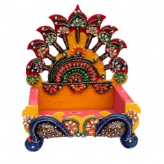 Multi Wooden Painted Stone Work Singhasan